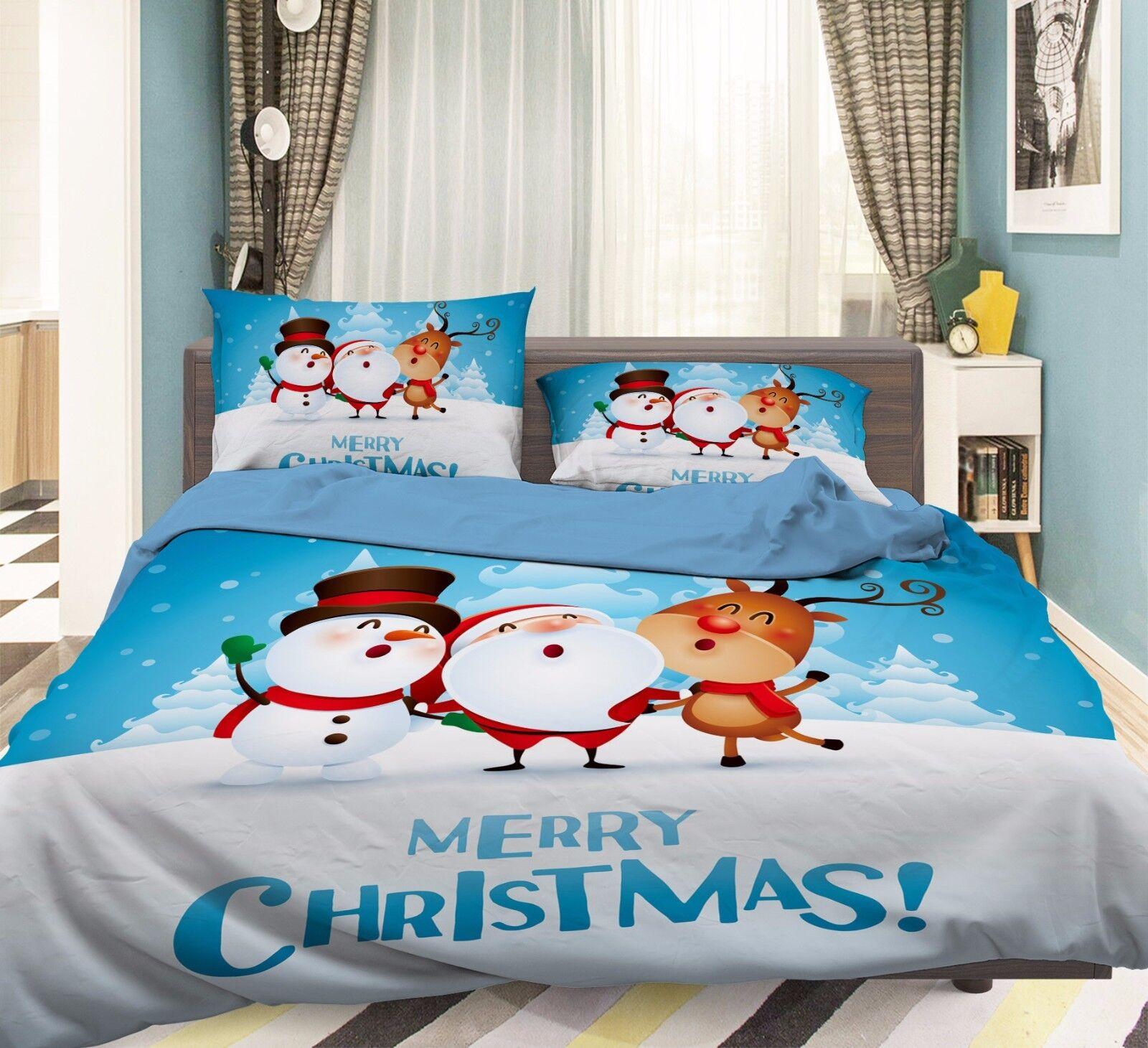 3D Snowman 906 Bed Pillowcases Quilt Duvet Cover Set Single Queen UK Summer