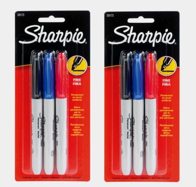 Sharpie 3 Pk FINE TIP Assorted PERMANENT MARKER Water