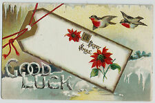 Merry Christmas Good Luck Gift Tag Birds Vintage Postcard