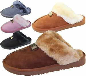 Womens-Fur-Lined-Slippers-Ladies-Mules-Non-Slip-Rubber-Sole-Shoes