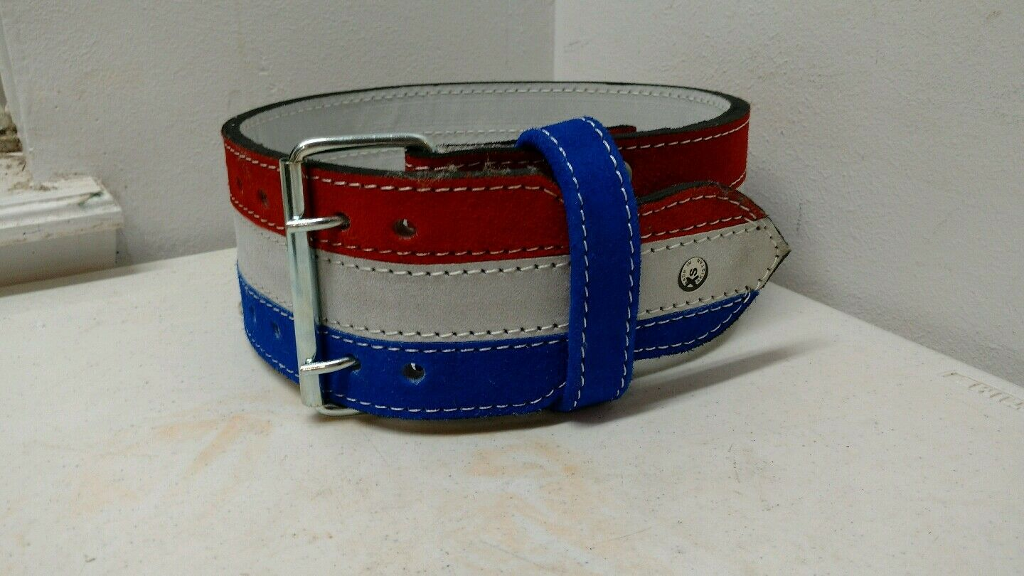 Red White bluee Wide Leather Belt Parade Rodeo Equestrian Youth Small Vintage