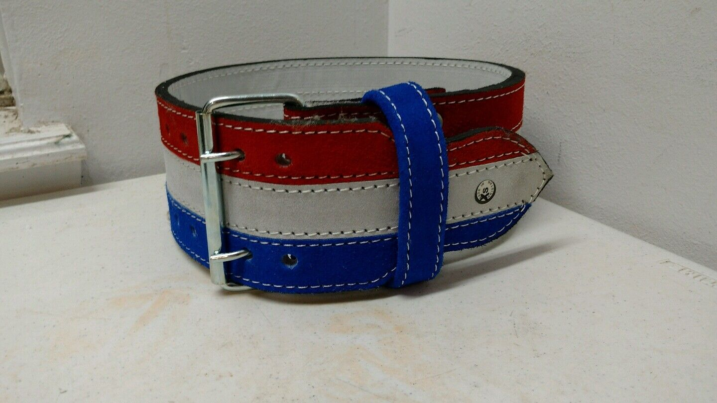 Red White  bluee Wide Leather Belt Parade Rodeo Equestrian Youth Small Vintage  save up to 80%