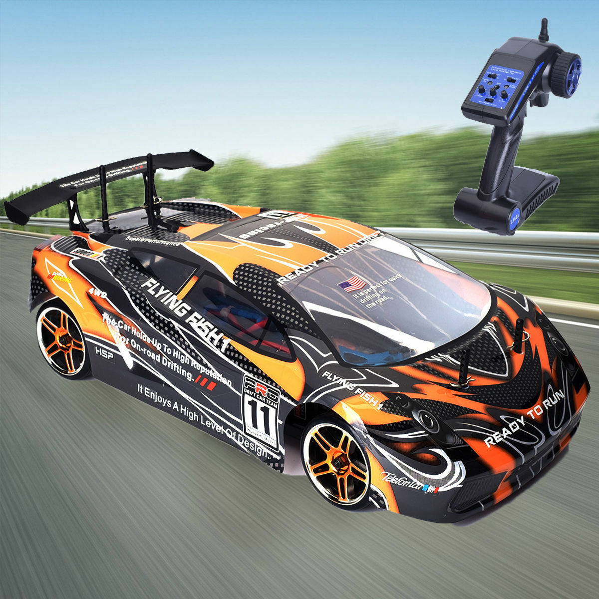 High SPEED 2.4g 1:10 Brushless Motore ON ROAD + LiPo battery remote RC Drift Car