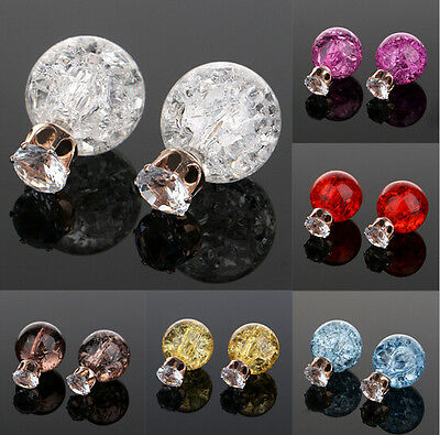 Cute Women Faceted Crystal CU Resin Double Sided Earrings AE Two Ball Ear Studs