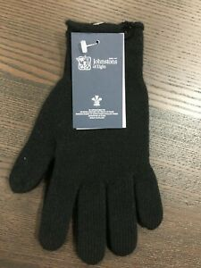 Women-039-s-Button-Cashmere-Gloves-Johnstons-of-Elgin-Made-in-Scotland-Black