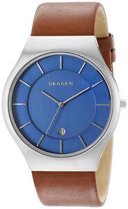 Skagen-SKW6160-Grenen-Blue-Dial-Brown-Leather-Strap-Men-039-s-Watch