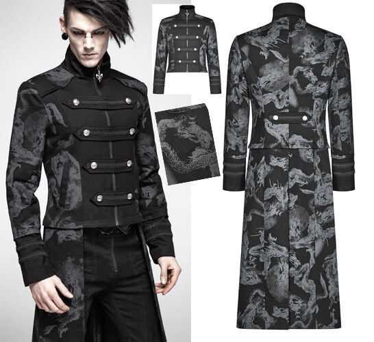 Übertragbar Mantel Jacke Gothic Militär Punk Dandy Drachen Trend PunkRave Herren