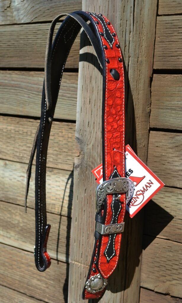 Reinsman Reinsman Reinsman 3.8cm Neon Rodeo Rot Gator Set Ohr Halfter - Schwarz 1c1385