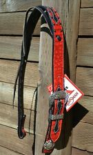 "Reinsman 1 1/2"" Neon Rodeo Red Gator Set Ear Headstall - Black"