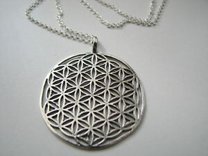 Large flower of life pendant necklace 30 inch rolo chain all 925 image is loading large flower of life pendant necklace 30 inch mozeypictures Gallery