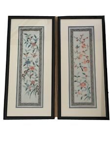 2 Vintage Oriental Hand Embroidery Silk Tapestry Birds Butterflies Chinoiserie