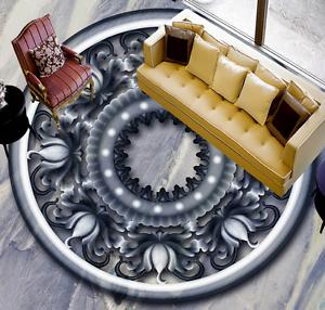 3D gris ronda Piso Parojo de papel pintado mural Wave 85 impresión 5D AJ Wallpaper Reino Unido Limón