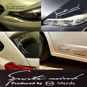Reflective Stylish Decal Sticker Sport Mind Mazda Emblem H: 9cm x W: 25cm Silver