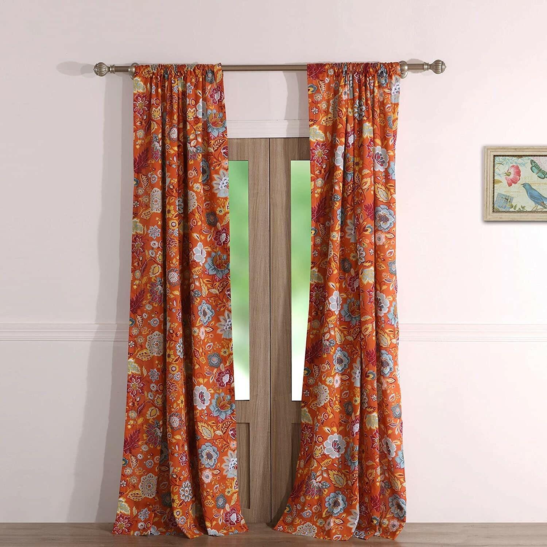 "HOME CLASSICS Marissa Window Panel Curtain Pair with Tiebacks 42/"" x 84/""GREEN NEW"