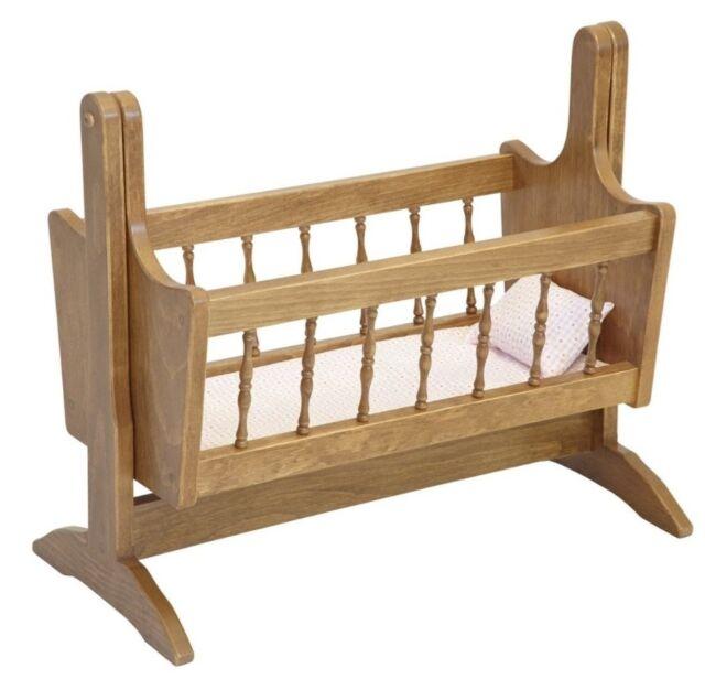 "18"" DOLL CRADLE SWINGING BED SWING Amish Handmade Fine Furniture Bitty Baby USA"