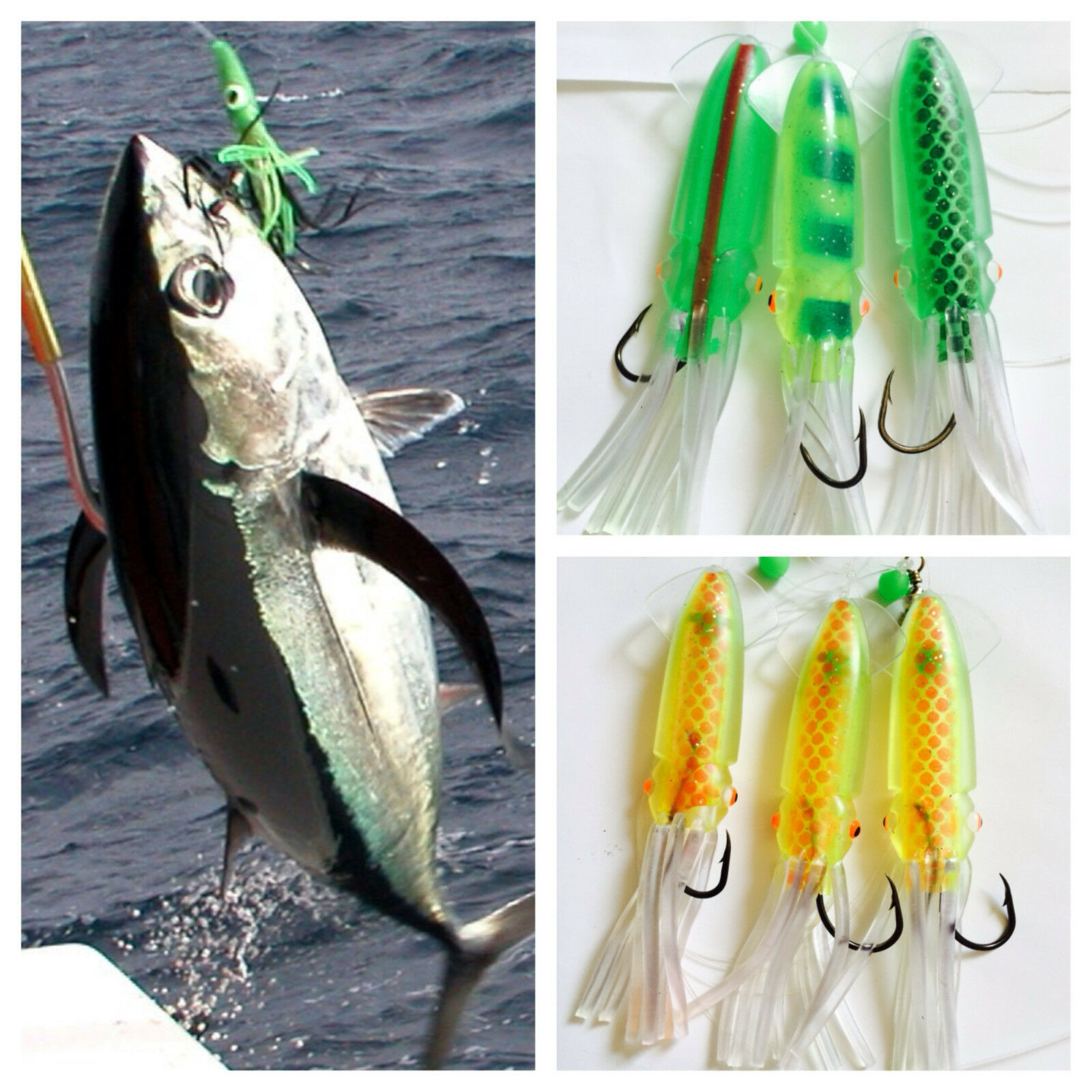 3 Giant Squid Cuttlefish Rigs Soft Baits Fishing  Lures 4 0 Hook Sabiki Offshore  the best online store offer