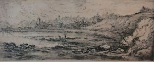 Antique-Original-Etching-of-a-seashore-by-Walter-Scott-Wood-1867-1924-signed