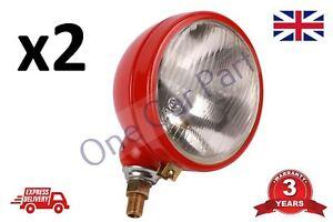 PAIR Universal Tractor Headlights Headlamp Worklight RED E Certified 2x