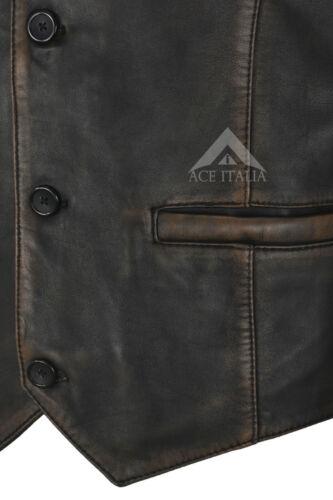 Mens Real Leather Waistcoat Party Fashion Stylish Vest Black Bronze Vintage 5226