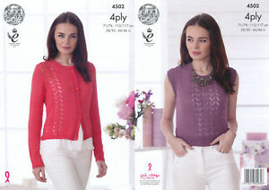 b9f8e7af5 King Cole Ladies 4 Ply Knitting Pattern Womens Lace Effect Cardigan ...