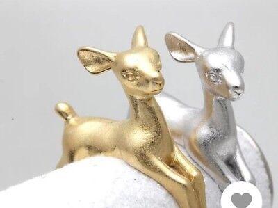 Reindeer Vintage Style Silver Bambi Deer Cute Adjustable Ring