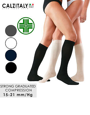 Firm Compression Travel Socks 3 Pairs Support Knee High Socks Made in Italy