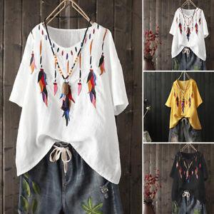 Mode-Femme-Coton-Manche-courte-Crochet-Loose-Casual-Hauts-T-shirts-Tops