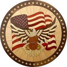 "36"" Wood Floor Medallion Inlay 286 Piece Patriotic eagle kit DIY Flooring Table"