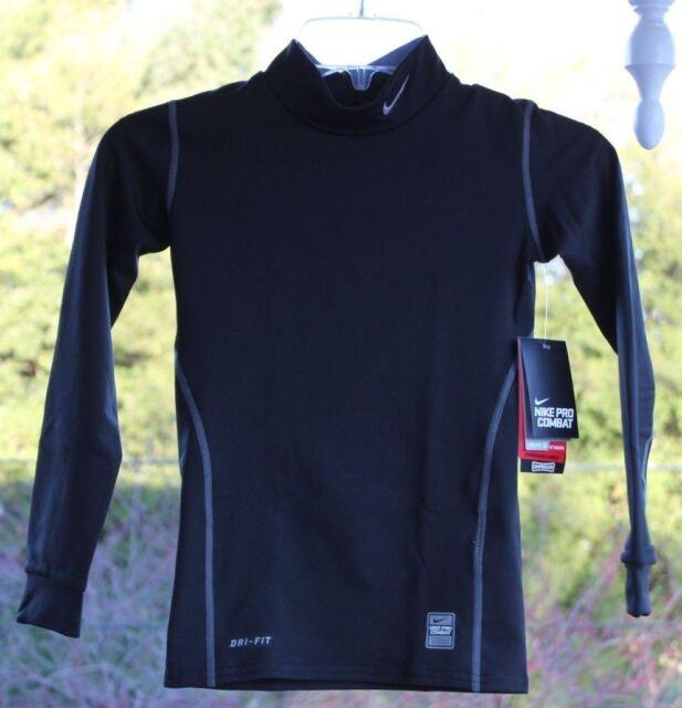2849455a NIKE Boys sz Small Pro Combat Dri Fit Compression Athletic Black Shirt  #336474