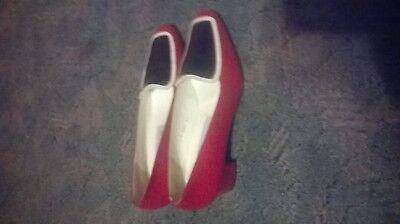 Damenschuhe , Gr.39, Rot/Schwarz,Weiß, Vollleder, Made in Spain , Absatz ca 4cm