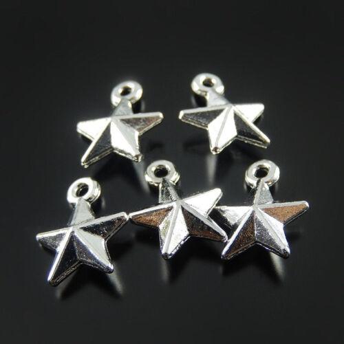 100 pcs Vintage Silver Zinc Alloy Five-pointed Star Charms Pendant Crafts 51900