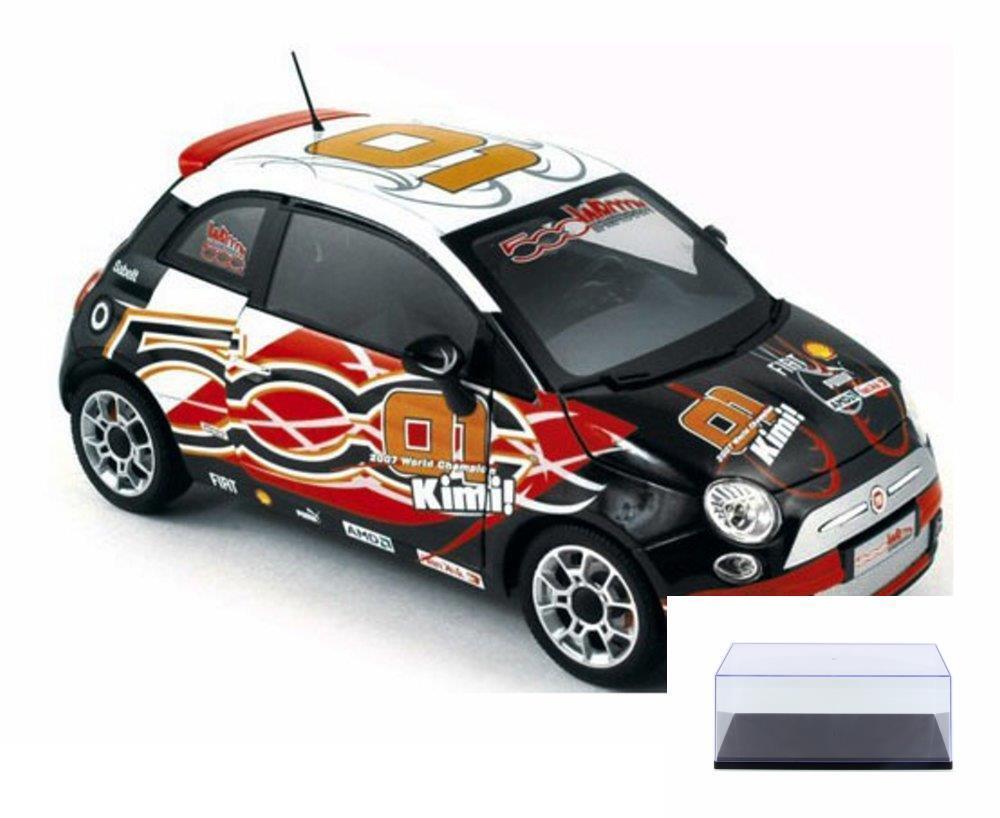 DIECAST CAR & CASE 2008 FIAT 500 WROOM VERSION KIMI NOREV RACING 187733 1 18