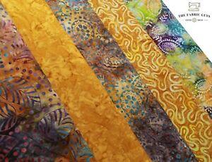 """BALI Batik indonesiano, foglie di palma tropicale, 5 col 100% Cotone Premium, 44"""""""