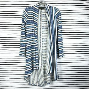 Anthropologie-Sunday-in-Brooklyn-Cardigan-Sweater-Top-Blue-Striped-Open-Size-XS