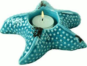 Seestern Teelicht Halter Shabby Chic Maritime Bad Deko Antik Blau