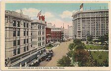 Mills Street Fronting San Jacinto Plaza in El Paso TX Postcard