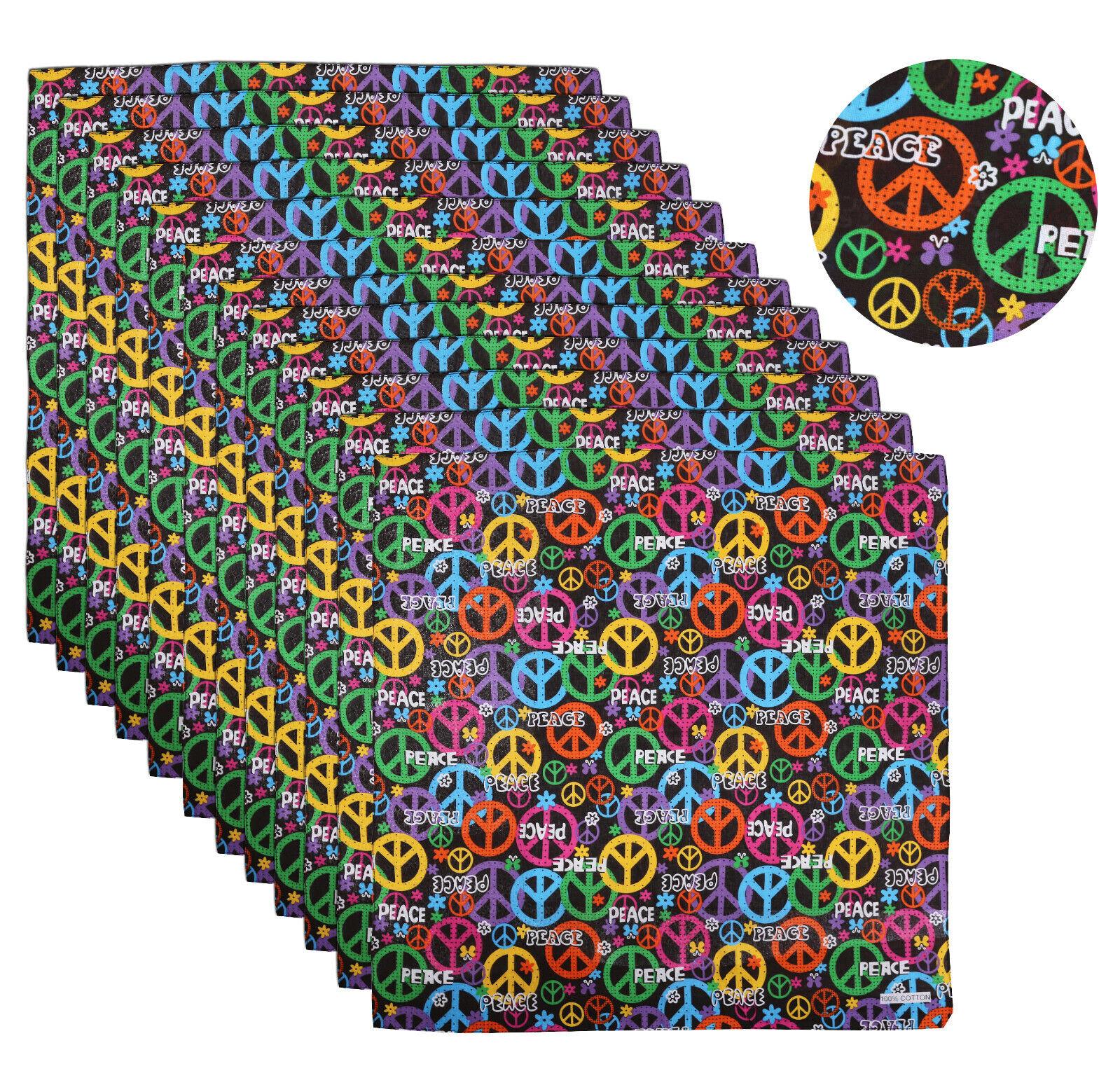 12 Pack Peace Sign Rainbow Cotton Head Wrap Face Cover Scarf Bandana 22