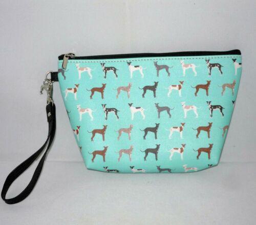 Wrist Strap Aqua Greyhound Clutch Zipper Bag with Greyhound Charm