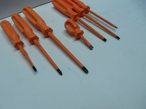 """1//4/"""" SLOTTED 7pc 0-2 SIZE PHILLIPS 1//8/"""" SIBILLE INSULATED SCREWDRIVER SET No"""