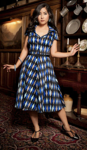 Pinup Couture Colette Dress In Blue House Harlequi