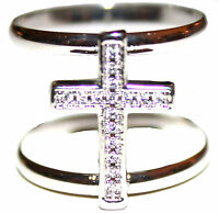 Wide Power Of God Open Band Cz Clear Cubic Zirconia Cross Silver Tone Brass Ring