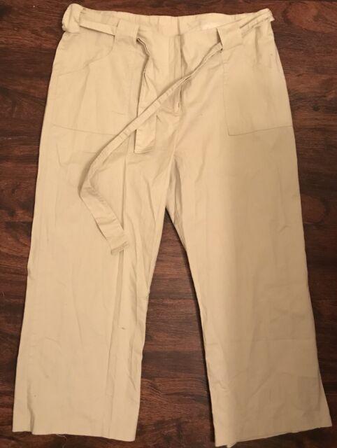 Womens Rag Beige Cropped Capri Tie Around Pants Sz 16