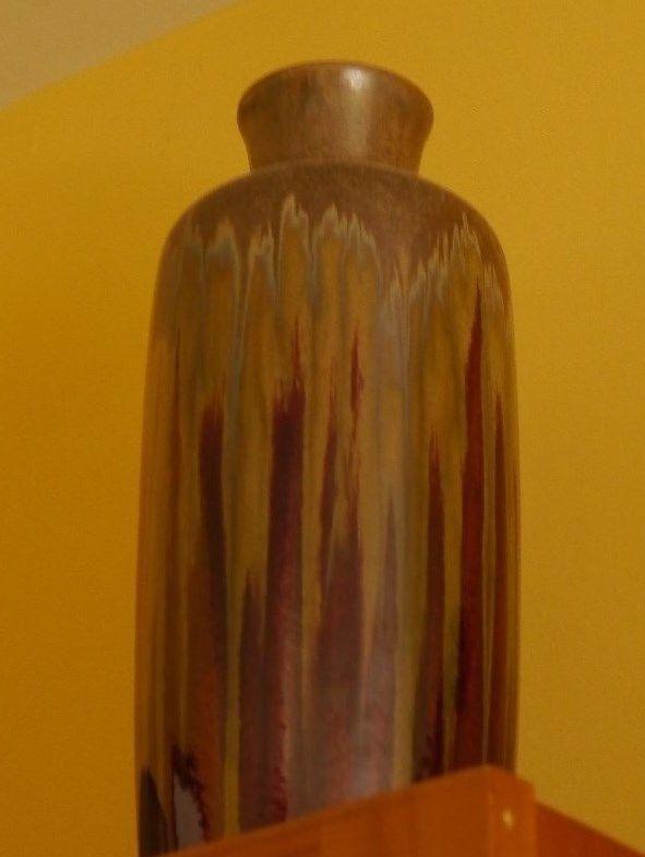 Pottery Vase Art Deep Burgundy Olive Grün Flarot Top 13 Inch Tall 5   Diameter