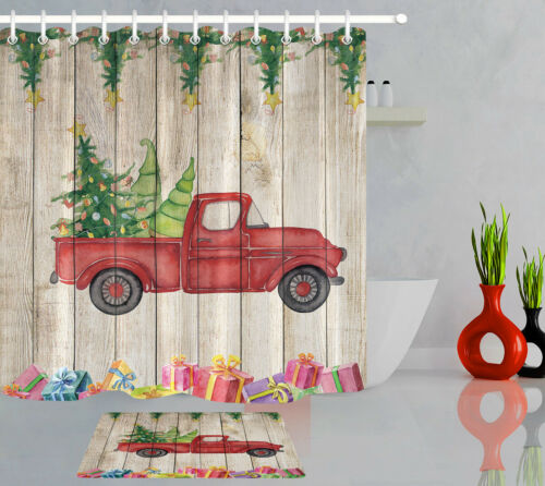 Christmas Gifts Rustic Wooden Wall Red Truck Shower Curtain Set Bathroom Decor