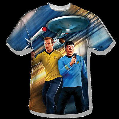 Star Trek Kirk and Spock Phasers Down Front Print Sublimation T-Shirt, UNWORN