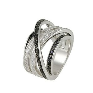 Pave Crossover Eternity Black Clear Cubic Zirconia High