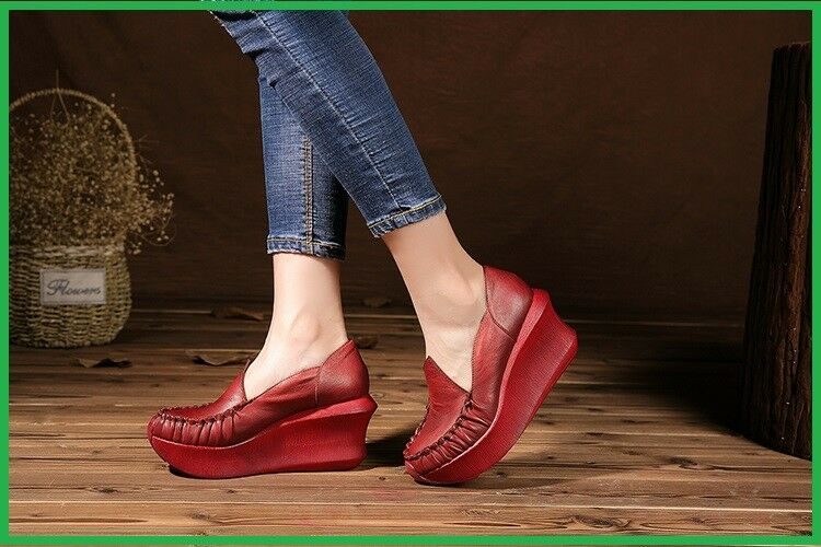 Women High Heel shoes Platform Wedges Pumps Genuine Leather Handmade Vintage