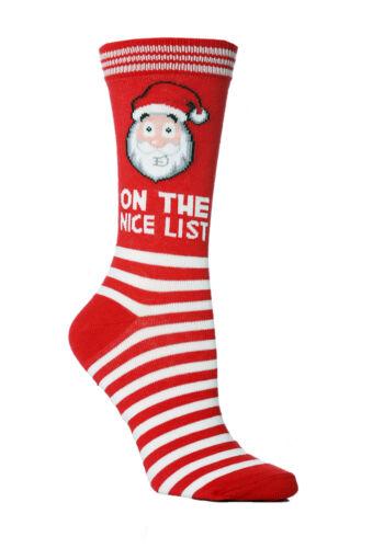 Ladies Novelty Christmas Santa Good List Socks 4-8uk 37-42eur Red White Stripes
