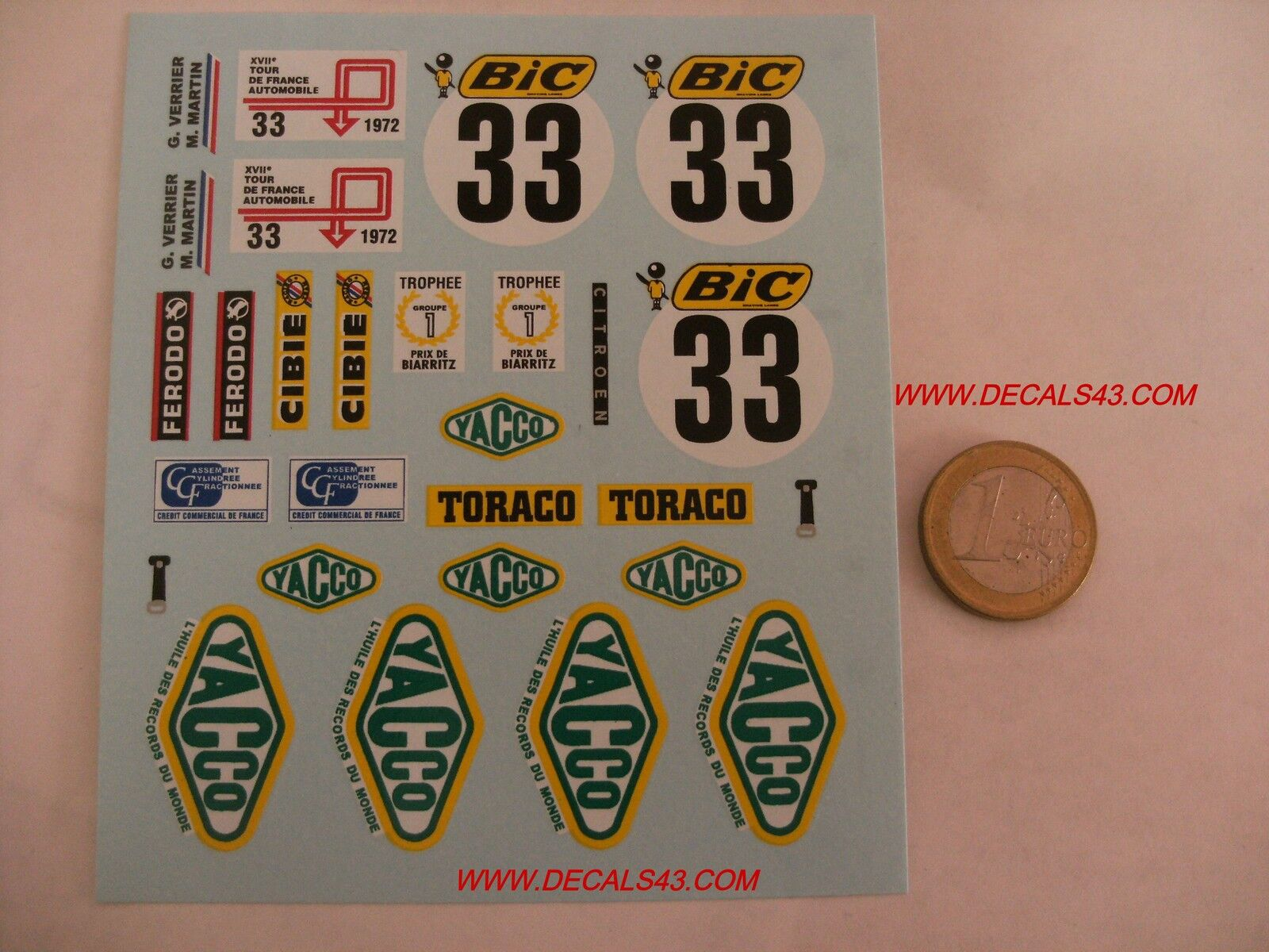 Decals decalcomanie citroen sm rallye tour de france 19772 1 18