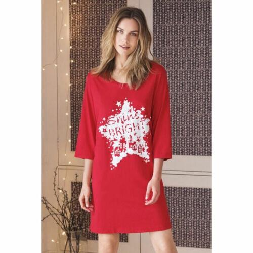 AVON FEMME Rouge Noël Nuisette Chemise de nuit Chemise de nuit longue Coton Taille
